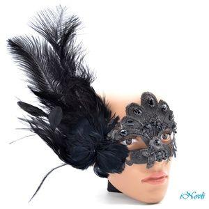 Mardi Gras Costume Mask Feathers Venetian Hallowee